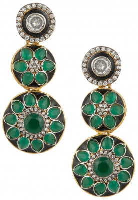 Antique Finish Triple Layered Emerald Danglers