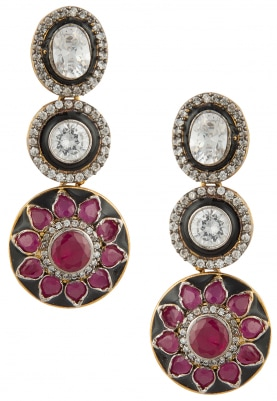 Antique Finish Triple Layered Ruby Danglers