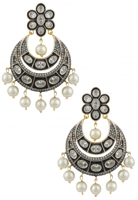 Antique Finish Victorian Crescent Chandbali Earrings