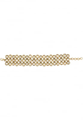Gold Plated Kundan Triple Line Bracelet