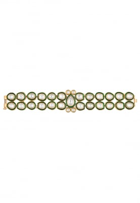 Gold Plated Kundan Double Line Bracelet