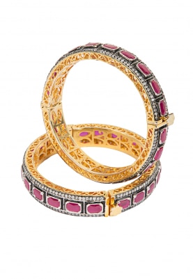 Antique Finish Pink Cz Stones Kada