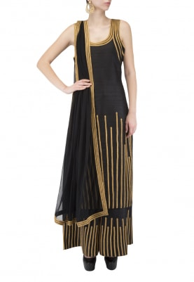 Black Kurta & Sharara Pants