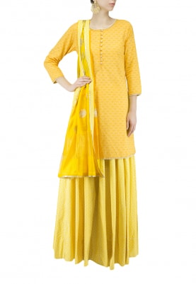 Yellow Short Kurta and Skirt Set