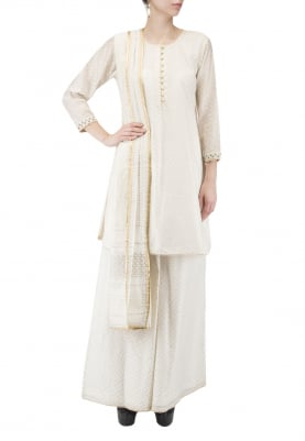 Off-White Short Kurta and Sharara Set
