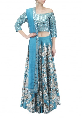Blue Lehenga Choli with Foil Print & Dupatta