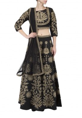 Black Zari Work Lehenga, Choli and Dupatta