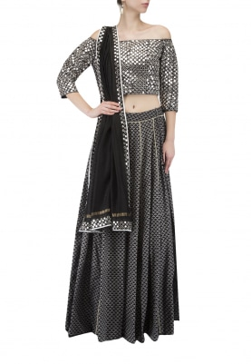 Black Lehenga Choli with Block Print & Foil Embroidery with Dupatta