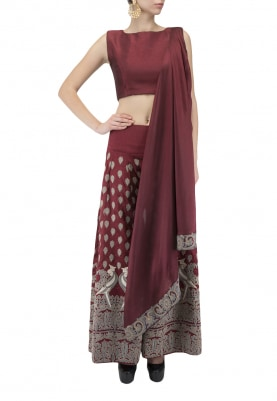 Wine Crop Top and Sharara Set