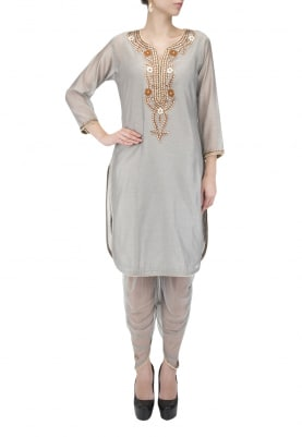 Grey Kurta & Dhoti Pants