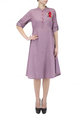 Purple Tunic with Parrot Motif Hand-Embroidered