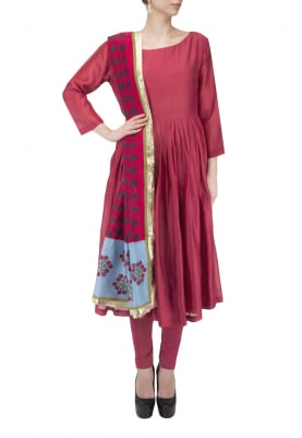 Maroon Chanderi Anarkali Set