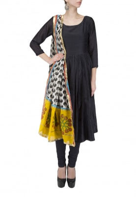 Black Chanderi Anarkali Set