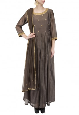Brown Dress and Dupatta