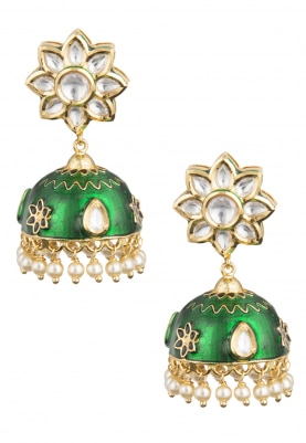 Gold Finish Kundan and Meena Jhumki Earrings