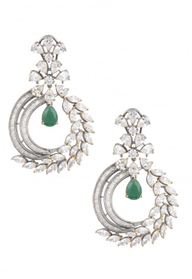 Silver Finish Diamonds and Green Stone Earrings
