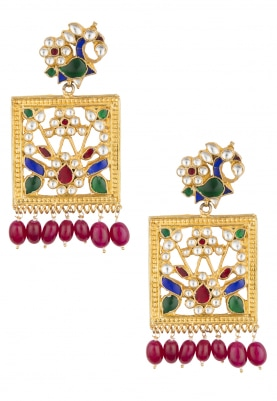 Antique Gold Finish Jadau Meena Earrings