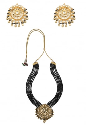 Antique Gold Finish Jadau and Black Beaded Necklace Set