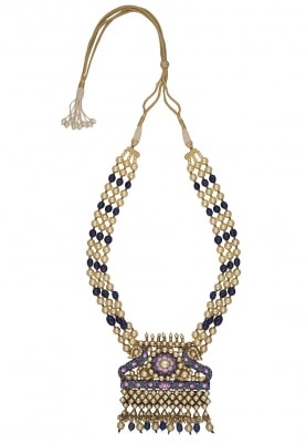 Antique Gold Finish Jaipuri Meena Necklace