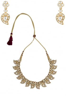 Antique Gold Finish Jadau Choker Necklace