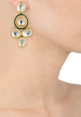 Gold Plated Kundan And Green Enamel Small Studs