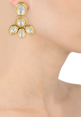 Gold Plated Kundan And Enamelled Studs