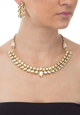 Gold Plated Kundan Studded Two String Necklace Set