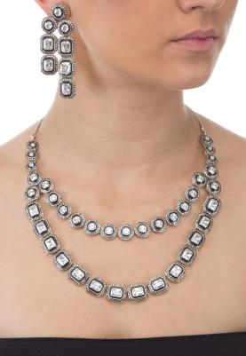Antique Finish Cz Stones Necklace Set