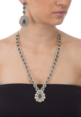 Antique Finish Zirconia And Sapphire Necklace Set