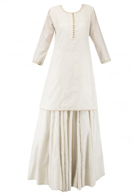 Off-White Short Kurta and Skirt Set