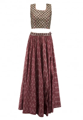 Rust Crop Top and Skirt