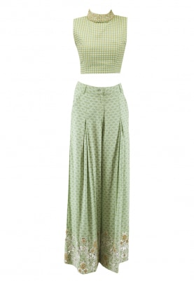 Pista Green Crop Top and Flared Pant