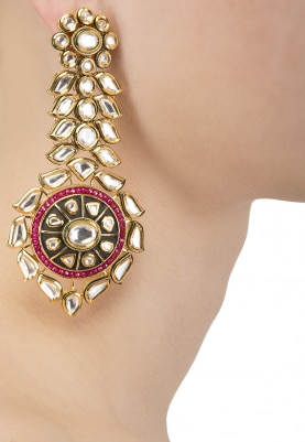 Gold Finish Kundan Studded Dangler Earrings