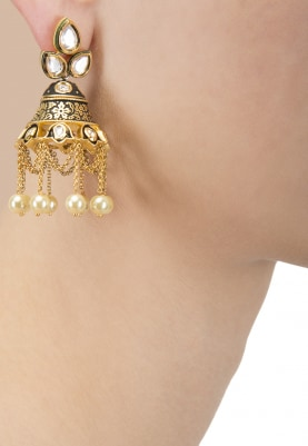 Gold Finish Kundan and Black Meena Jhumki Earrings