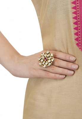 Glossy Gold Finish Kundan Studded Statement Ring