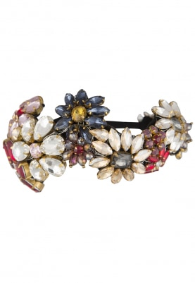 Multicolor Crystal Stone Embellished Floral Hairband