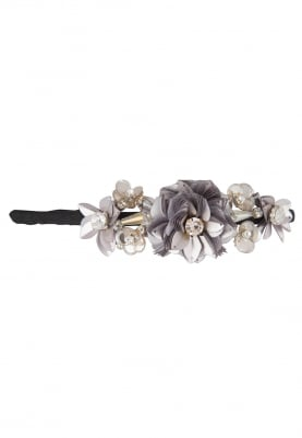 Purple Hairband with Metal Sequins and Crystal Stone Floral Embellishment