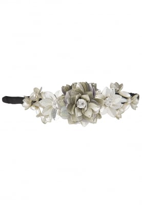 Silver Crystal and Sequins Embellished Floral Hairband