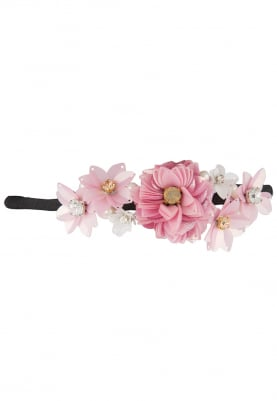 Pink Crystal and Sequins Embellished Floral Hairband