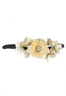 Yellow Crystal and Sequins Embellished Floral Hairband