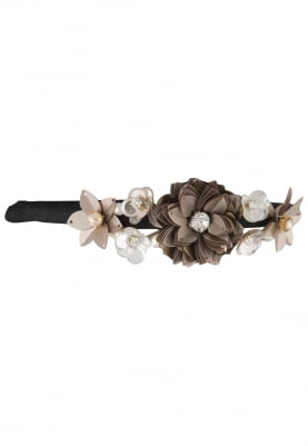 Brown Crystal and Sequins Embellished Floral Hairband