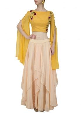 Peach Ruffled Skirt with Mustard Crop Top