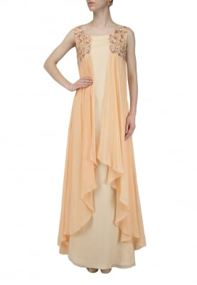 Beige and Peach Layered Gown