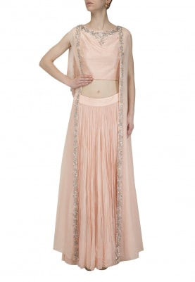 Peach Embroidered Blouse with Lehenga and Jacket Set