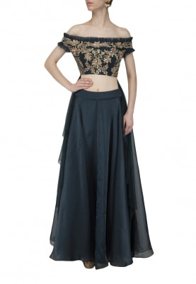 Emerald Green Embroidered Blouse with Organza Skirt