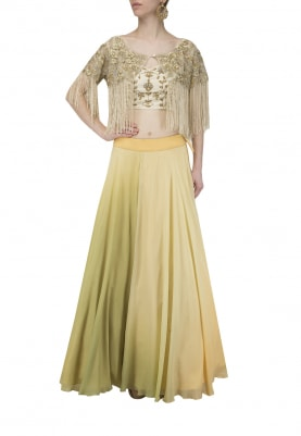 Olive Green Shaded Lehenga with Blouse and Poncho Set