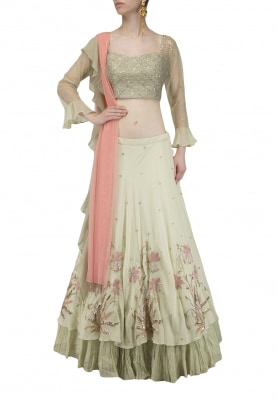 Mint Green Embroidered Double Layered Lehenga Set