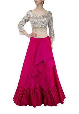 Hot Pink Frilled Skirt with Grey Embroidered Crop Top