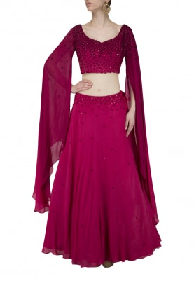 Maroon Resham Embroidered Lehenga with Crop Top