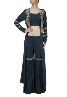Teal Embroidered Jacket with Gharara and Crop Top Set